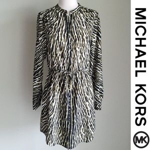 Michael Kors Olive Green Tiger Animal Print Dress